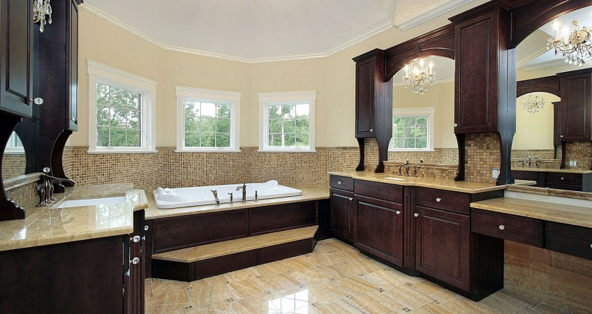 Dark Cherry Cabinetry In Luxury Bathroom