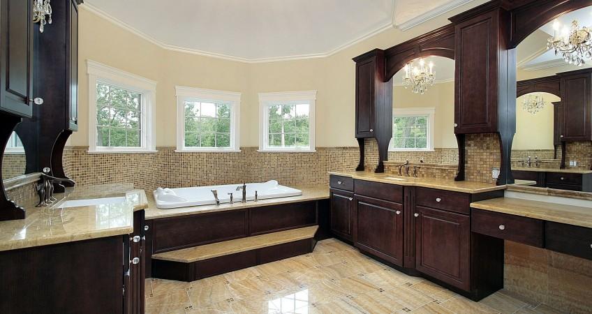 Dark Cherry Cabinetry In Luxury Bathroom