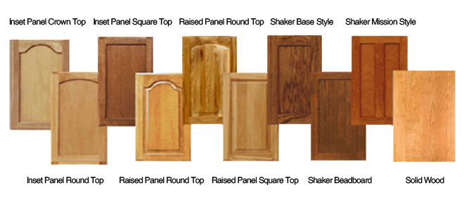 Door styles k c custom cabinets inc for Types of wood used for cabinets