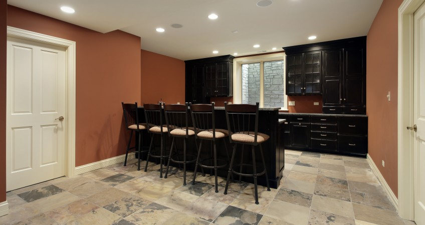 Dark Cherry Basement Bar
